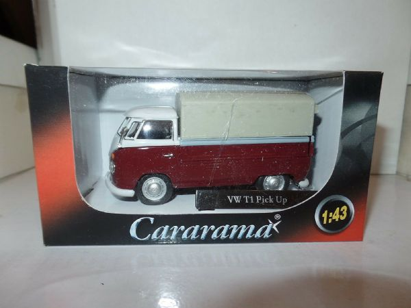 Cararama Oxford 1/43 Scal VW Volkswagon T1 Transporter Covered Pickup White Red